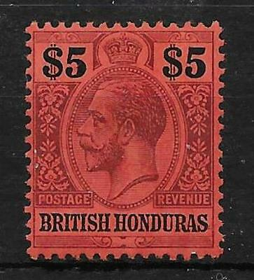 British Honduras Sg110 1913 $5 Purple & Black On Red Mtd Mint