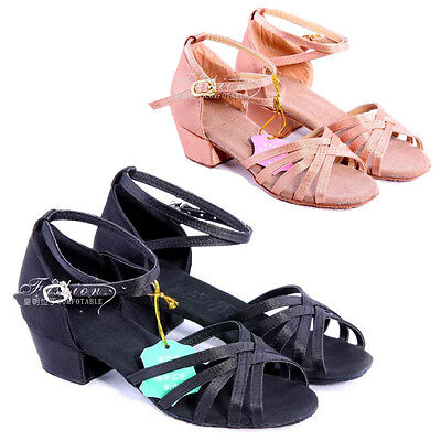 Women Children Girl's Kids Ballroom Latin Tango Dance Shoes heeled Salsa 26-38