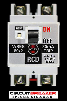 WYLEX 80 AMP 30 mA DOUBLE POLE RCD WSES 80/2