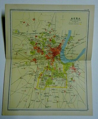 EX IMPERIAL GAZETTEER INDIA Antique Map of Agra and Environs 1931