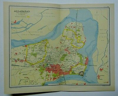 EX IMPERIAL GAZETTEER INDIA Antique Map of Allahabad and Environs 1931