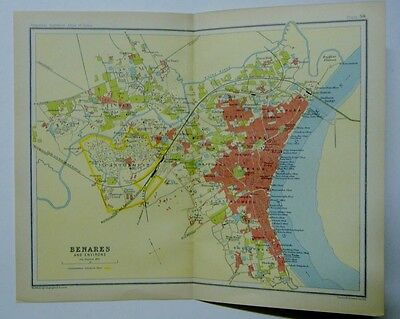 EX IMPERIAL GAZETTEER INDIA Antique Map of Benares and Environs 1931