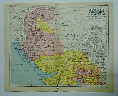 EX IMPERIAL GAZETTEER INDIA 2 Antique Maps of Bombay, Sind, Barboda and States o