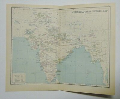 EX IMPERIAL GAZETTEER INDIA Antique Map of India Archaeological Sketch Map 1931