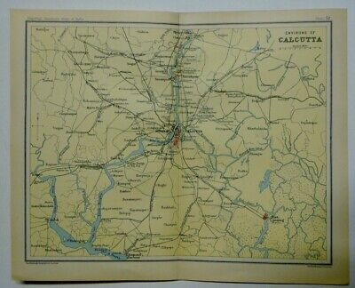 EX IMPERIAL GAZETTEER INDIA Original 1931 Antique Map of  Calcutta & Environs
