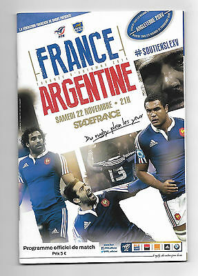 2014 Rugby Union Autumn International - FRANCE v. ARGENTINA official programme