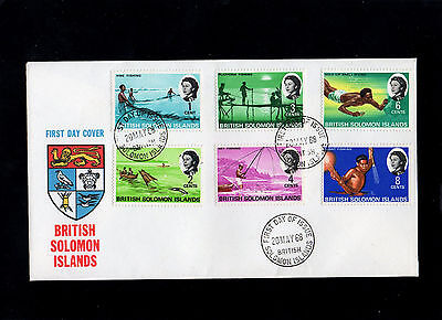 Solomon Islands 1968 Qe Ii Set Of 6 Stamps On First Day Cover With Cds Postmarks