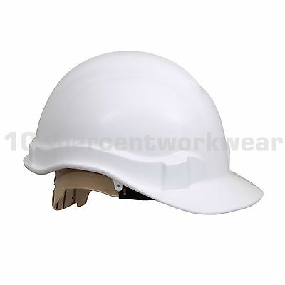 RHINOtec White HDPE 8 Point Harness Work Safety Helmet Hard Hat Construction PPE