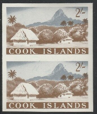 Cook Islands (1859) - 1963 definitive 2s Island Scene IMPERF PAIR unmounted mint