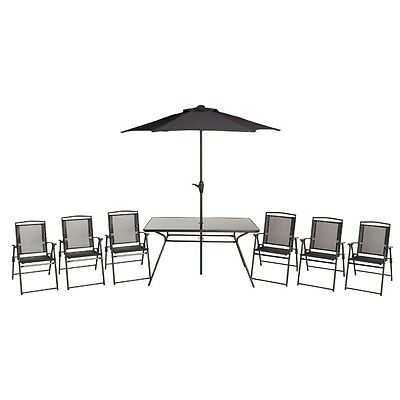 Blooma 6 Seater Table Outside Garden Patio Dining Set + Chairs + Parasol F-3671