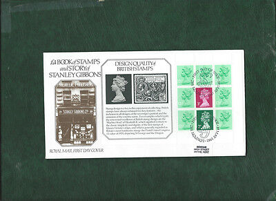 GB 1982 The Story of Stanley Gibbons prestige booklet panes on 4 FDC