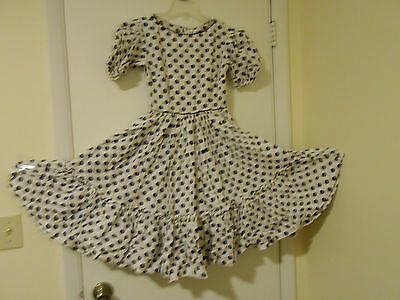 Vintage Homemade Country Square Dance Dress White with black polka dots