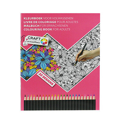 Flowers Adult Colouring Book Anti Stress Relief Calm Art Therapy Patterns Colour