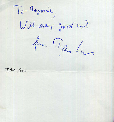 IAN GOW Signed Note - Auction House COA - Politician Assassinated by IRA in 1990
