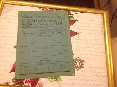 Football Programme West  Ham United V Portsmouth 1945/46