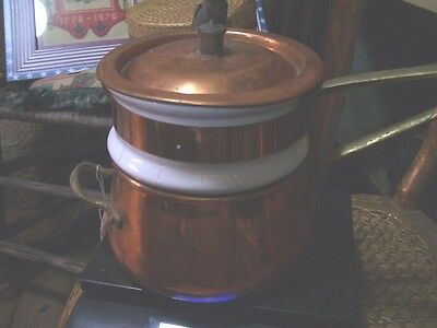 Copper  and porcelain double  boiler  Portugal,  some cracking