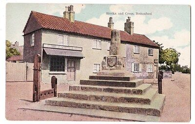 Early Postcard,Leicestershire, Bottesford Cross @ Stocks, Old Houses,