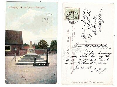 Early Postcard,Leicestershire, Bottesford Cross @ Stocks, Old House 1906