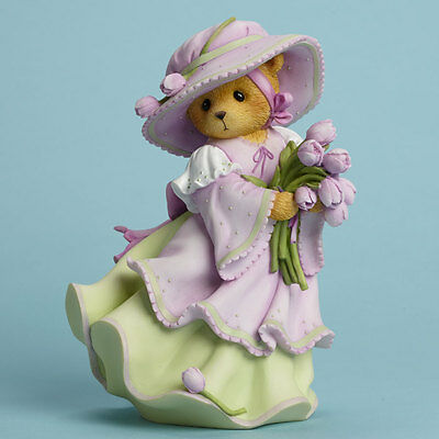 Cherished Teddies You are  Always a Breath of Fresh Air Bear and Tulips Figurine