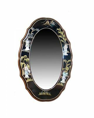 Black with Mother of Pearl Wall Mounted Chinese Mirror Oriental Furniture