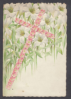 C1304 Intricate Victorian Folding New Year Card: Floral Cross & Lillies