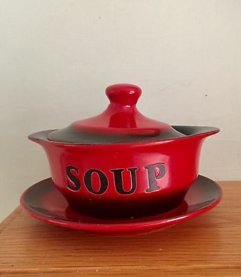 Really Nice Leonardo Red & Black Lidded Soup Dish And Saucer In Vgc