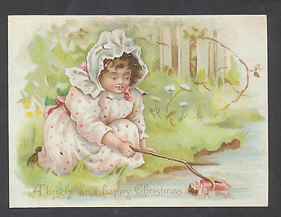 C1335 Good Victorian Xmas Card: Girl Rescuing Doll