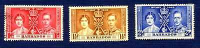 BARBADOS #190/192-KING GEORGE VI CORONATION-Set of 3-USED