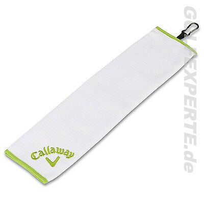 CALLAWAY GOLF SOLAIRE MICROFASER TRIFOLD CART TOWEL WHITE-LIME 16 x 21 INCH