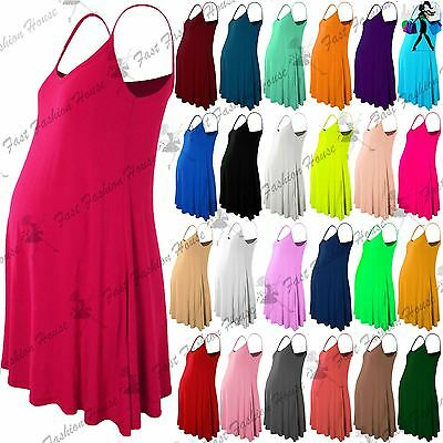 New Womens Maternity Sleeveless Camisole Floaty Strappy Skater Long Swing Dress