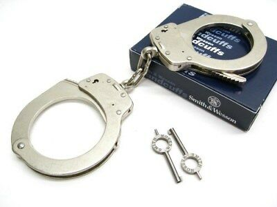 SMITH & WESSON S&W Model 1 Nickel Chain Link Universal Handcuffs + Keys! 350132