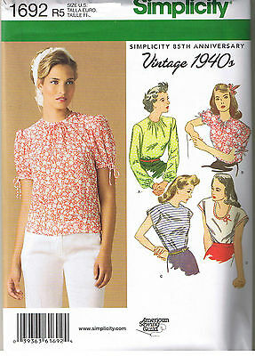 Vintage 40s Retro Tops Simplicity 1692 Sewing Pattern Plus Size 14 16 18 20 22