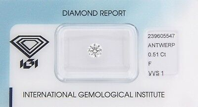 Diamond 0,51ct F VVS 1 Round IGI Certificate  - Laserscribe and Sealed -