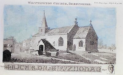 OLD ANTIQUE PRINT WHITTINGTON CHURCH DERBYSHIRE  c1809 ENGRAVING by SCHNEBBOLIE