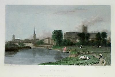 OLD ANTIQUE PRINT WORCESTER c1830's ENGRAVING by WESTALL / FRANCIS  TOWN VIEW