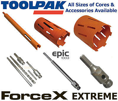 TOOLPAK FORCEX Extreme Diamond Core Drill Bit, All Sizes Available + Accessories
