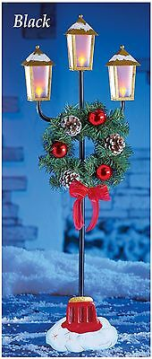 Lighted Holiday Black & Gold Christmas Lamp Post w/ Wreath Outdoor Decoration