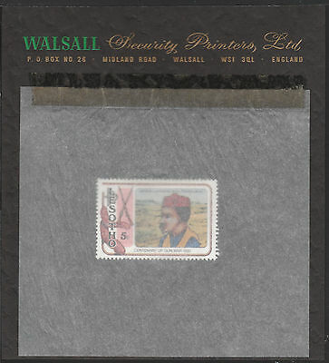 Lesotho (1866) - 1980 Gun War perf 5s on WALSALL PROOF CARD