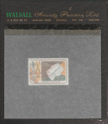 Lesotho (1869) - 1980 Gun War perf 25s on WALSALL PROOF CARD