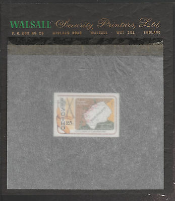 Lesotho (1874) - 1980 Gun War imperf 25s on WALSALL PROOF CARD