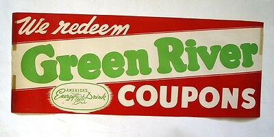 "Bright Long Lanky 14"" Original Green River Soda Pop Coupons Advertising Sign"