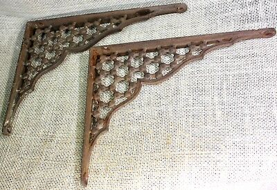 "2 Shelf support brackets 6"" X 8"" vintage 1880's old rustic iron clover lattice"