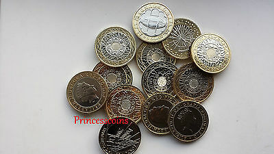 Selection Of Uncirculated Great Britain Bi-Metal £ 2 Two Pound Coins