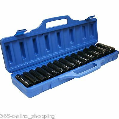 "14pc 1/2"" inch Drive Deep Impact Metric Socket Set Air Garage Sockets 10-32mm"