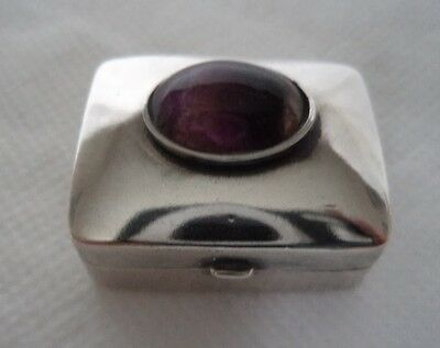 Stone Set 1995 Solid /  Sterling Silver Trinket Box