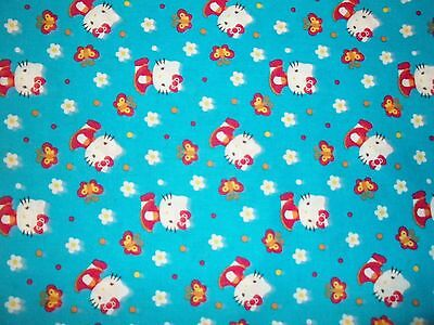 New Hand Made Hello Kitty Toss on Blue Fitted Crib/Toddler Sheet