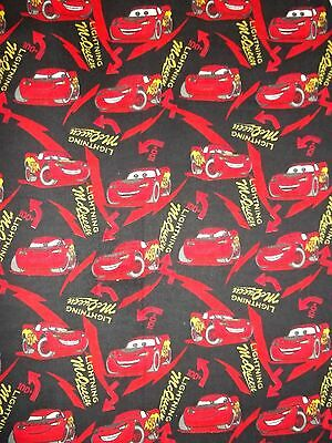 New Hand Made Lightning McQueen Black Flannel Crib or Toddler Bed Fitted Sheet