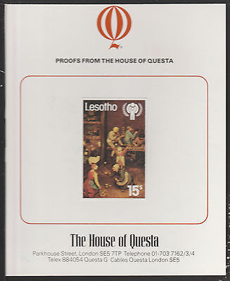 Lesotho (1887) - 1979 Year of the Child 15s Imperf on QUESTA PROOF CARD