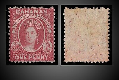1863  - 1865 BAHAMAS QUEEN VICTORIA 1 P. ROSE LAKE MINT SCOTT 11b MINT WITH GUM