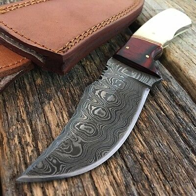 "NEW! 8"" Damascus Steel Hunting Skinning Knife w/ Bone & Cherrywood Handle"